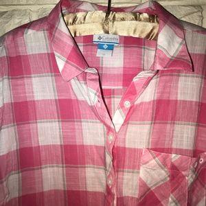 Columbia pink plaid cotton tunic w/ pockets! 1X